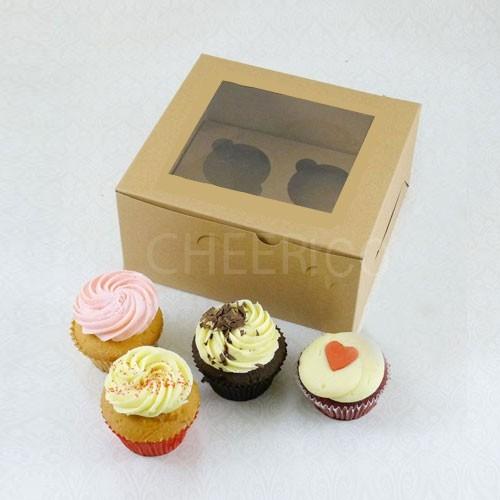 4 Kraft Brown Cupcake Window Box ( $1.50/pc x 25 units)