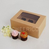 6 Kraft Brown Window MIni Cupcake Box ($1.45/pc x 25 units)
