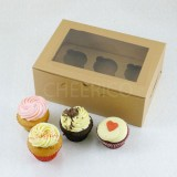 6 Cupcake Window Kraft Brown Box($1.60/pc x 25 units)