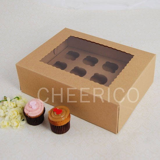 12 Kraft Brown Window MIni Cupcake Box ($2.00/pc x 25 units)