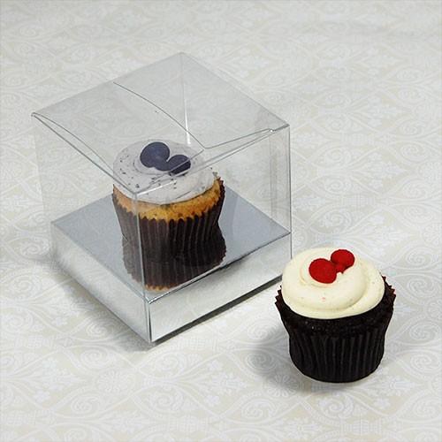 1 Cupcake Clear Mini Cupcake Boxes w Silver insert($1.00pc x 25 units)