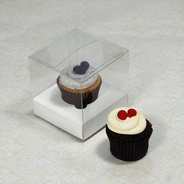 1 Cupcake Clear Mini Cupcake Boxes w White insert($1.00pc x 25 units)