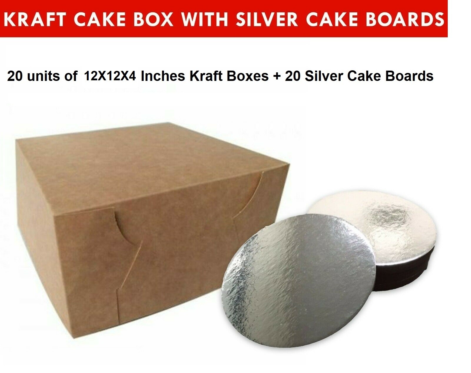 """Kraft Cake Boxes with Round boards - 12"""" x 12"""" x 4"""" ($4.2/pc x 20 units)"""