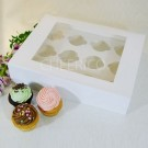 12 White  Cupcake Window Box ($2.50/pc x 25 units)