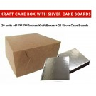 """Kraft Cake Boxes with Square boards - 12"""" x 12"""" x 4"""" ($4.2/pc x 20 units)"""