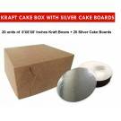 """Kraft Cake Boxes with Round boards - 8"""" x 8"""" x 4"""" ($3.6 /pc x 20 units)"""