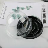 50 X Clear Mini Single Cupcake Muffin Dome Pods - Black